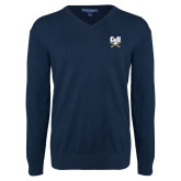 Classic Mens V Neck Navy Sweater-Primary Athletic Mark