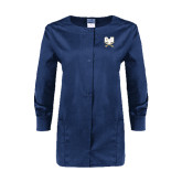 Ladies Navy Snap Front Warm Up Scrub Jacket-CSU-Swords Logo