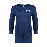 Ladies Navy Snap Front Warm Up Scrub Jacket-CSU Arched