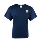 Unisex Navy V Neck Tunic Scrub with Chest Pocket-CSU-Swords Logo