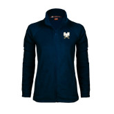 Ladies Fleece Full Zip Navy Jacket-CSU-Swords Logo