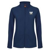 Ladies Fleece Full Zip Navy Jacket-Primary Athletic Mark