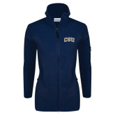 Columbia Ladies Full Zip Navy Fleece Jacket-CSU Arched