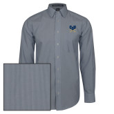 Mens Navy/White Striped Long Sleeve Shirt-Primary Athletic Mark