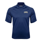 Navy Textured Saddle Shoulder Polo-CSU Arched