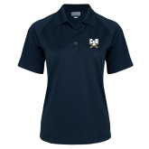 Ladies Navy Textured Saddle Shoulder Polo-Primary Athletic Mark