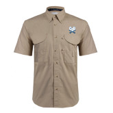 Khaki Short Sleeve Performance Fishing Shirt-CSU-Swords Logo