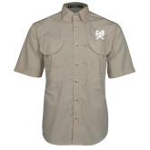 Khaki Short Sleeve Performance Fishing Shirt-Primary Athletic Mark