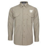 Khaki Long Sleeve Performance Fishing Shirt-Primary Athletic Mark