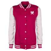 Ladies Pink Raspberry/White Fleece Letterman Jacket-Primary Athletic Mark