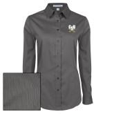Ladies Grey Tonal Pattern Long Sleeve Shirt-Primary Athletic Mark