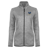 Grey Heather Ladies Fleece Jacket-Primary Athletic Mark