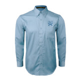 Light Blue Twill Button Down Long Sleeve-CSU-Swords Logo