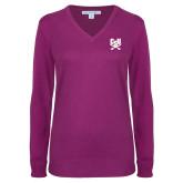 Ladies Deep Berry V Neck Sweater-Primary Athletic Mark