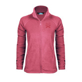 Ladies Fleece Full Zip Raspberry Jacket-CSU-Swords Logo