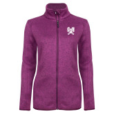 Dark Pink Heather Ladies Fleece Jacket-Primary Athletic Mark
