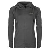 Ladies Sport Wick Stretch Full Zip Charcoal Jacket-Charleston Southern Buccaneers
