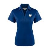 Ladies Navy Performance Fine Jacquard Polo-CSU-Swords Logo