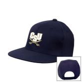Navy Flat Bill Snapback Hat-CSU-Swords Logo