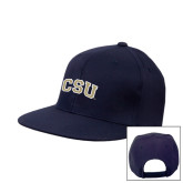 Navy Flat Bill Snapback Hat-CSU Arched