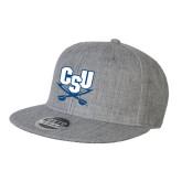 Heather Grey Wool Blend Flat Bill Snapback Hat-CSU-Swords Logo