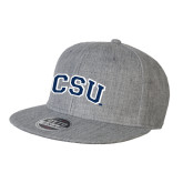 Heather Grey Wool Blend Flat Bill Snapback Hat-CSU Arched