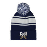 Navy/White Two Tone Knit Pom Beanie with Cuff-Primary Athletic Mark