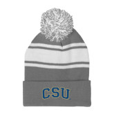 Grey/White Two Tone Knit Pom Beanie with Cuff-CSU Arched