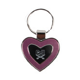 Silver/Pink Heart Key Holder-CSU-Swords Logo Engraved