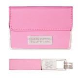 Business Card Case and Key Ring Set Pink-Charleston Southern Stacked Engraved