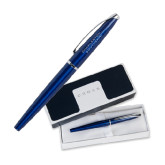 Cross ATX Blue Lacquer Roller Ball Pen-Charleston Southern Stacked Engraved