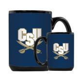Full Color Black Mug 15oz-CSU-Swords Logo