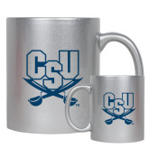 11oz Silver Metallic Ceramic Mug-CSU-Swords Logo