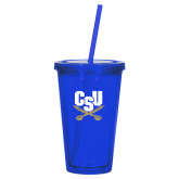 Madison Double Wall Blue Tumbler w/Straw 16oz-Primary Athletic Mark