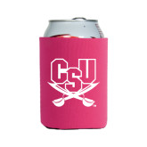 Collapsible Hot Pink Can Holder-CSU-Swords Logo