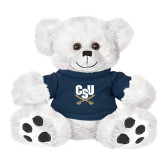 Plush Big Paw 8 1/2 inch White Bear w/Navy Shirt-Primary Athletic Mark