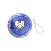 Light Up Blue Yo Yo-CSU-Swords Logo