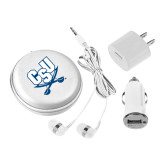 3 in 1 White Audio Travel Kit-CSU-Swords Logo