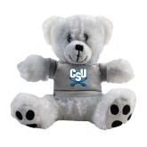 Plush Big Paw 8 1/2 inch White Bear w/Grey Shirt-CSU-Swords Logo