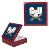 Red Mahogany Accessory Box With 6 x 6 Tile-CSU-Swords Logo
