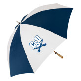 62 Inch Navy/White Umbrella-CSU-Swords Logo