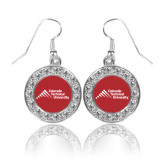 Crystal Studded Round Pendant Silver Dangle Earrings-Official Logo - Stacked