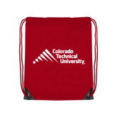 Red Drawstring Backpack-Official Logo - Stacked
