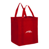 Non Woven Red Grocery Tote-Official Logo - Stacked