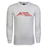 White Long Sleeve T Shirt-Official Logo - Stacked