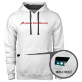 Contemporary Sofspun White Hoodie-Official Logo - Flat