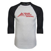 White/Black Raglan Baseball T-Shirt-Official Logo - Stacked