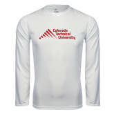 Performance White Longsleeve Shirt-Official Logo - Stacked