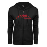 ENZA Ladies Black Fleece Full Zip Hoodie-Official Logo - Stacked