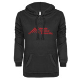 ENZA Ladies Black V-Notch Raw Edge Fleece Hoodie-Official Logo - Stacked